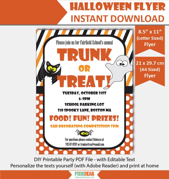 Trunk Or Treat Flyer Halloween Party Flyer Template