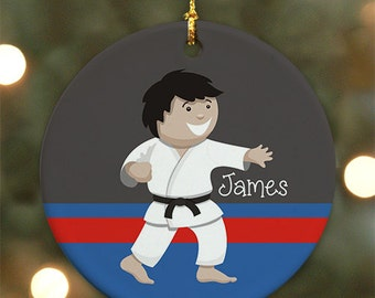 Personalized Karate Boy Ornament (Male version) - Personalized with Name