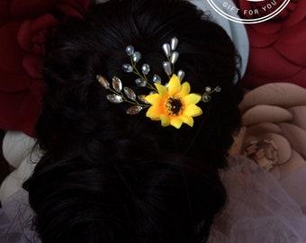 Sunflower bobby pins Sunflower Hair Clip Bridesmaid jewelry Sunflower Headband Sunflower wedding hair piece Rustic sunflower hair accessory