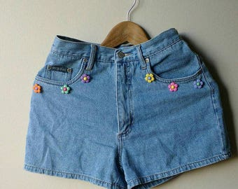 Vintage Upcycled Denim High Waisted Shorts