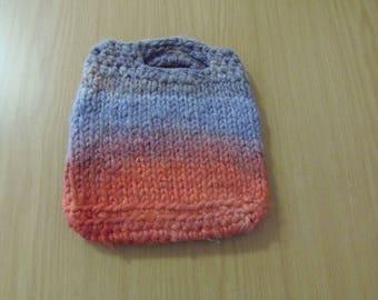 Hand knitted, handspun, hand dyed bag