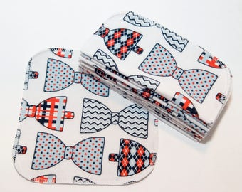 Bowtie Cloth Wipes - Baby Wipes - Flannel Bathroom Wipes- Eco Friendly Napkins - Reusable Wash Cloth - 2 Ply - 10 Count