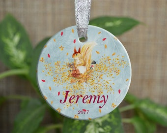 Personalized Christmas Ornament, Baby First Christmas ornament, Custom Ornament, Newborn baby gift, Squirrel ornament, Christmas gift. o074