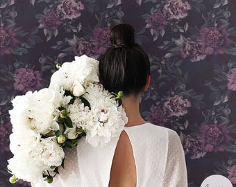 Dark Floral Wallpaper / Dark Peony Wall Mural / Traditional or Removable Wallpaper