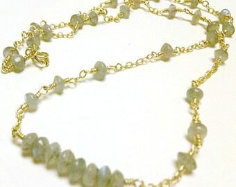 Gray Labradorite Necklace Bead Bar Gold Vermeil Jewelry Grey Jewellery Natural Gemstone Women Wire Wrapped Dainty
