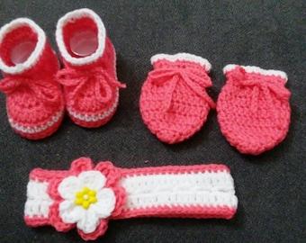 Newborn Baby Set baby girl Shoes baby girl Mittens baby girl headband Newborn Shoes Newborn mittens