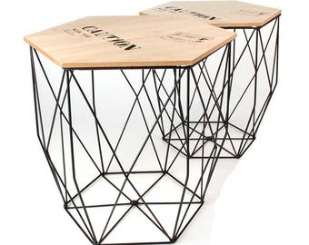 Wire Table set of 2 Caution