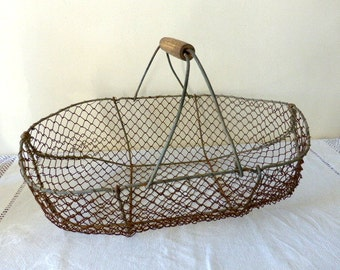 Antique French, Wire, Oyster Basket