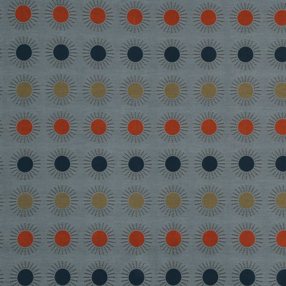Orange Blue Geometric Upholstery Fabric Modern Grey Blue