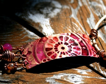 ClockWork Copper, Leather and Quartz Necklace