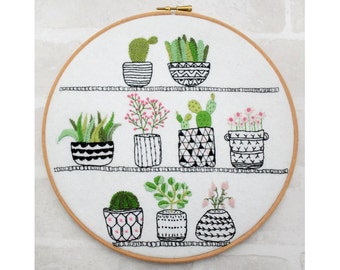 Rosie's House Plants hand embroidery hoop succulents pdf instant download pattern