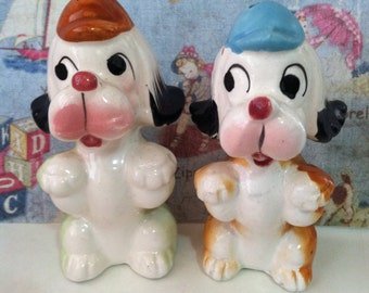 VERY RARE Vintage Antiques Baseball Player Dogs Salt and Pepper Shakers Collectibles or Cake Toppers