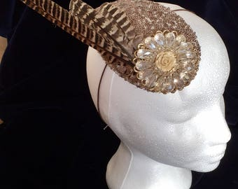 Wedding headpiece, bridal occasion,Feather and sequin headpiece.