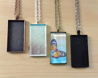 5pk Rectangle Pendant Trays...Mix and Match your colors...Size 1 x 2...CRPT