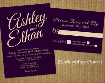 Purple Wedding Invitation,Purple and Gold Wedding Invitations,Purple,Gold,Shimmery,Customize,Printed Invitations,Invitation Sets,Envelope