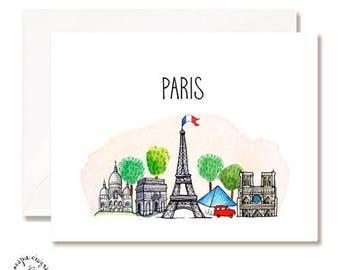 Paris Illustration Card - Handmade - Set of 10 - A2 Blank