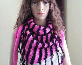 Handmade Pink and Black fringe Scarf. Summer bactus. Hippie Gypsy scarf. Bandana Scarf. Knit Fashion Scarf. Vegan Friendly. Gift for her.