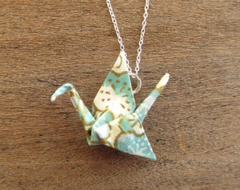Teal & White Origami Necklace, Cute Kawaii Asian Japanese Paper Crane Necklace Jewelry