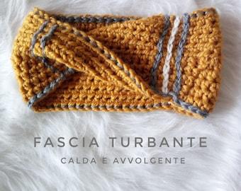 Women's hair headband-crochet Band-big wool turban-gift idea-wool earmuffs