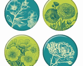 Teal and Green Botanical Flowers Magnets or Pinback Buttons or Flatback Medallions Set of 4