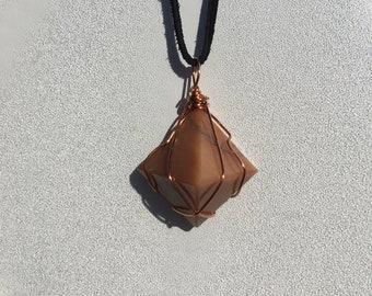Orange Calcite pyramid wire wrap