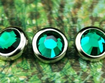 10 boutons pressions émeraude cristal cheveux - rond bord d'argent édition--faite avec des strass Swarovski Element