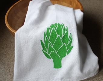 Artichoke Kitchen Towel Hand Screened Flour cloth