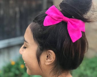 Shocking Pink Sailor Hair Bow on French Barrette