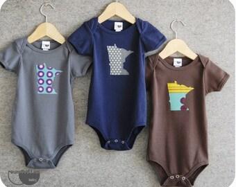 minnesota onesie infant grey navy brown 6-12m 12-18m 2 4 6 tee