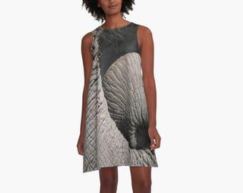 Animal Print Dress, Grey A-line Dress, Elephant Print Dress, Women's Above Knee Dress, Sleeveless Dress, Elephant Photo, Wearable Art Dress