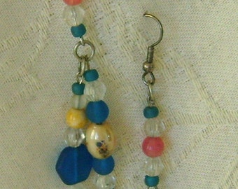 Hand Beaded Earrings French; Hooks, Blue, Pink, Crystal, Beige Beads
