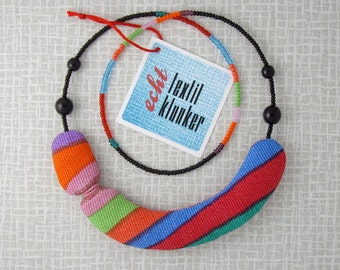 striped, colourful fabric necklace