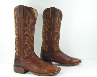 vintage cowboy boots womens 6.5 B M brown distressed leather justin western leather