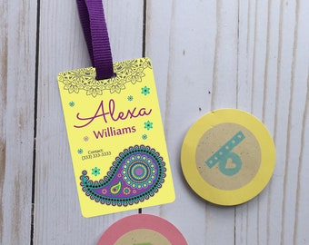 Personalized design id backpack tag, custom name tag, school name tag, custom backpack tag, personalized tag, girl tag, suitcase tag