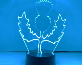 Scottish Thistle Colour Changing LED Acrylic Light