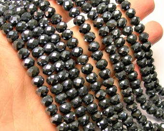 Crystal faceted rondelle - 70 pcs - 8 mm - AA quality - full strand - Dark  grey - GSH77