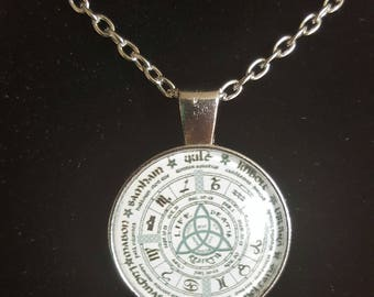 Triquatra, wheel of the year cabochon necklace