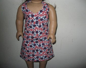 "Halter Dress for 18"" Doll - Red, White and Blue"