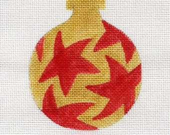 Red stars/gold background Needlepoint Ornament - Jody Designs B7B