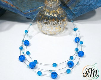 murano glass necklace, Sommersa Aquamarine color, lampwork, handmade