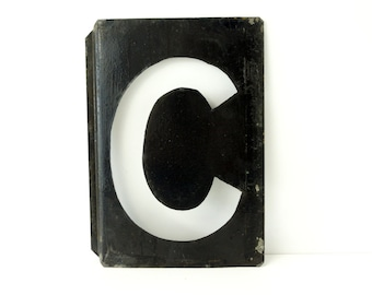 """Vintage Metal Letter """"C"""" Moonglo Marquee Letter, 13"""" tall (c.1900s) - Industrial Home Decor, Typography Collectible"""