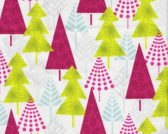 Blend Fabrics Hip Holiday Hip Forest in White - Half Yard