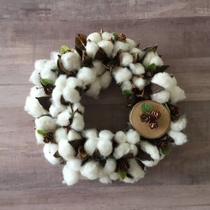 Pincone Cotton wreath, Cotton ball wreath, Cotton stem wreath, Wreath, Farmhouse wreath, Farmhouse, Floral wreath,  Fixer Upper inspired