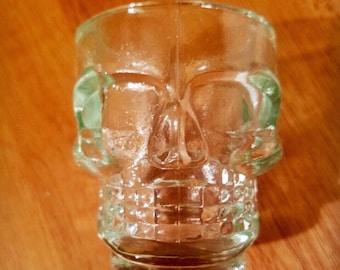 2 Skull Shot Glasses; Small Halloween Bar and Drinkware Set