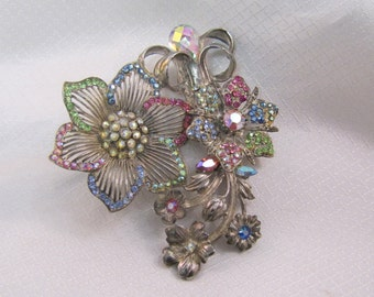 Vintage 1980's Thelma Deutsch 1930's Reproduction Flower Brooch