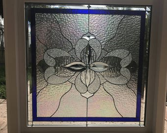 """Vinyl Framed and Tempered Glass Insulated!!  The """"Santa Paula"""" Stained Glass & Beveled Window  (We do custom work and sizing)"""