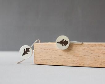 Silver leaf earrings Oak leaf earrings Botanical earrings Rustic earrings Leaves earrings Nature earrings Woodland earrings For women