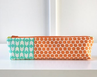 Pencil Pouch in mint and orange   Pencil Case   Pencil Bag   Zippered Pouch