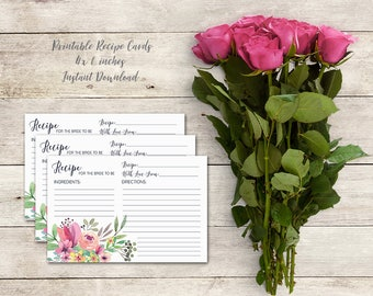 Recipe Card for Bride to Be, Bridal Shower Activity, Wedding Shower, Floral Bridal Shower,Watercolor Flowers, Bridal Tea, Printable No. 1018