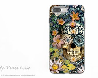 Floral Sugar Skull iPhone 7 PLUS - 8 PLUS Case - Dual Layer Tough Cover for Apple iPhone 7 Plus - Day of the Dead Art - Bali Botaniskull